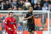 Barnet goalscorer Curtis Weston of Barnet (right) wins the ball in the air during the Sky Bet League 2 match between Barnet and Grimsby Town at The Hive, London, England on 29 April 2017. Photo by David Horn.