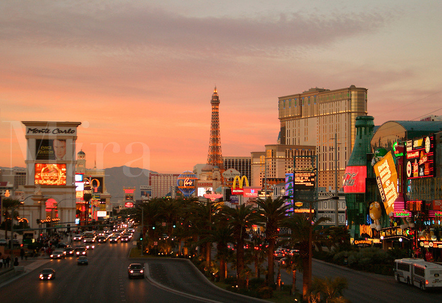 View looking down The Strip at sunset, Las Vegas, Clark County, N