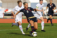 Lauren Cheney shoots vs. Iceland.  The USWNT defeated Iceland (2-0) at Vila Real Sto. Antonio in their opener of the 2010 Algarve Cup on February 24, 2010.