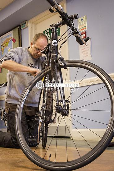 Bicycle maintenance workshop, London Borough of Haringey, London 2015 UK
