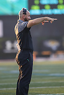 Towson, MD - September 9, 2016:Towson Tigers defensive coach Jon Schwartz during game between Towson and St. Francis at Minnegan Field at Johnny Unitas Stadium  in Towson, MD. September 9, 2016.  (Photo by Elliott Brown/Media Images International)