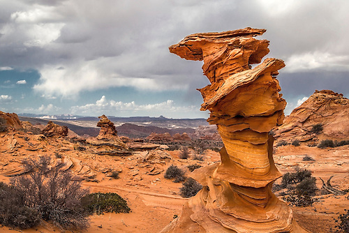 Unusual rock formations formed by erosion of sandstone make up the landscape at South Coyote Buttes at Vermillion Cliffs National Monument, Arizona.