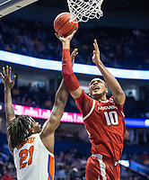 NWA Democrat-Gazette/BEN GOFF @NWABENGOFF<br /> Daniel Gafford (10), Arkansas forward, shoots as Dontay Bassett, Florida forward, defends in the first half Thursday, March 14, 2019, during the second round game in the SEC Tournament at Bridgestone Arena in Nashville.