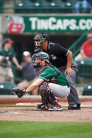 Great Lakes Loons catcher Brant Whiting (1) and umpire Luis Hernandez during the second game of a doubleheader against the Fort Wayne TinCaps on May 11, 2016 at Parkview Field in Fort Wayne, Indiana.  Great Lakes defeated Fort Wayne 5-0.  (Mike Janes/Four Seam Images)