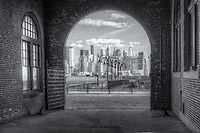 The skyline of lower Manhattan in New York City as viewed from inside the Central Railroad of New Jersey (CRRNJ) Terminal in Liberty State Park, Jersey City, New Jersey