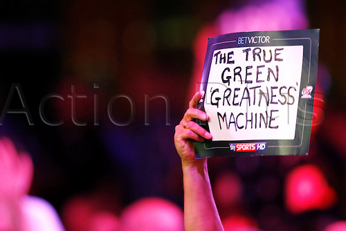 23.07.2016. Empress Ballroom, Blackpool, England. BetVictor World Matchplay Darts. A supporter holds up a banner supporting Michael van Gerwen