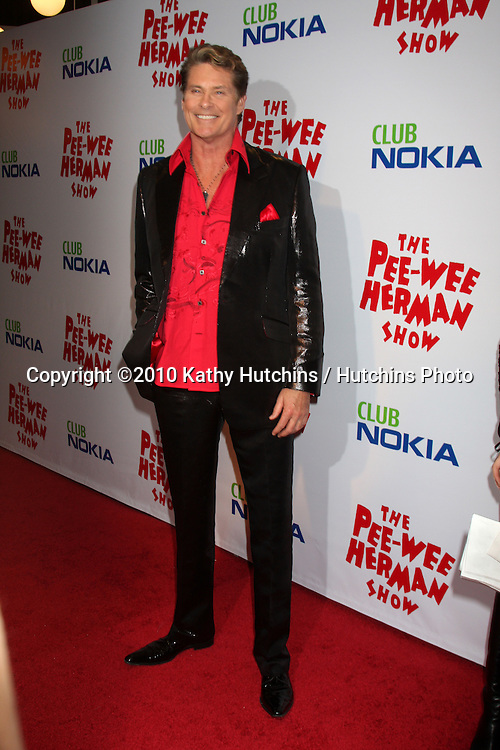 """David Hasselhoff.arriving at the """"The Pee Wee Herman Show"""" Opening Night..Club Nokia.Los Angeles, CA.January 20, 2010.©2010 Kathy Hutchins / Hutchins Photo...."""