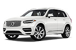 Stock pictures of low aggressive front three quarter view of a 2018 Volvo XC90 T8 Twin Engine Plug-in Inscription 5 Door SUV