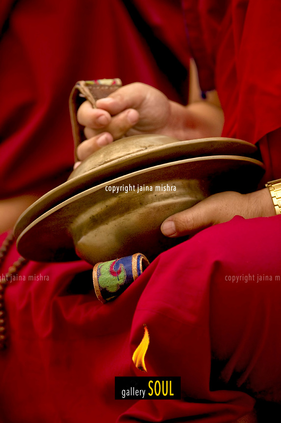 Buddhist Lama Monk with large cymbals for the Losar festival. Sikkim.