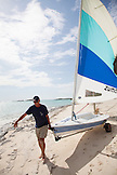 EXUMA, Bahamas. Yves, the Resort Manager, going sailing at the Fowl Cay Resort.