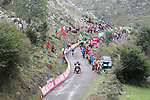 The final brutal climb of Los Machucos during Stage 17 of the 2017 La Vuelta, running 180.5km from Villadiego to Los Machucos. Monumento Vaca Pasiega, Spain. 6th September 2017.<br /> Picture: Unipublic/&copy;photogomezsport   Cyclefile<br /> <br /> <br /> All photos usage must carry mandatory copyright credit (&copy; Cyclefile   Unipublic/&copy;photogomezsport)