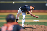 Virginia Cavaliers relief pitcher Evan Sperling (34) delivers a pitch to the plate against the Wake Forest Demon Deacons at David F. Couch Ballpark on May 19, 2018 in  Winston-Salem, North Carolina. The Demon Deacons defeated the Cavaliers 18-12. (Brian Westerholt/Four Seam Images)