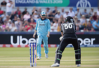 Eoin Morgan (England) starts to celebrate the wicket of James Neesham (New Zealand) during England vs New Zealand, ICC World Cup Cricket at The Riverside Ground on 3rd July 2019