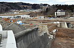 March 4, 2016, Miyako City, Japan - A housing project is being built on a hill, some 40 meters above the town center near Miyako City, Iwate prefecture, northeastern Japan on Friday, March 4, 2016. The lower four stories of the hotel, background right, was engulfed by tsunami. On March 11, Japan marks the five-year anniversary of the devastating earthquake and tsunami that struck the northeastern region of the country and left more than 18,000 people dead or missing.  (Photo by Natsuki Sakai/AFLO) AYF -mis-