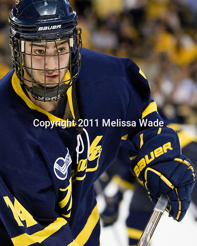 Joe Cucci (Merrimack - 14) - The Merrimack College Warriors defeated the University of New Hampshire Wildcats 4-1 in their Hockey East Semi-Final on Friday, March 18, 2011, at TD Garden in Boston, Massachusetts.