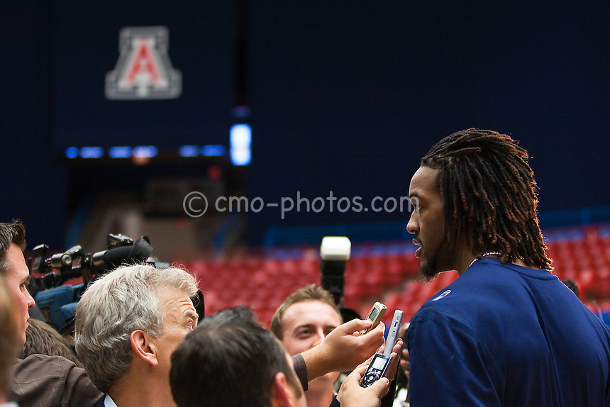 Apr 7, 2009; Tucson, AZ, USA; Arizona Wildcats forward Jordan Hill speaks to the media following the introductory press conference of new head coach Sean Miller at the McKale Center.