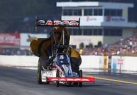 Oct 5, 2013; Mohnton, PA, USA; NHRA top fuel dragster driver Steve Torrence during qualifying for the Auto Plus Nationals at Maple Grove Raceway. Mandatory Credit: Mark J. Rebilas-