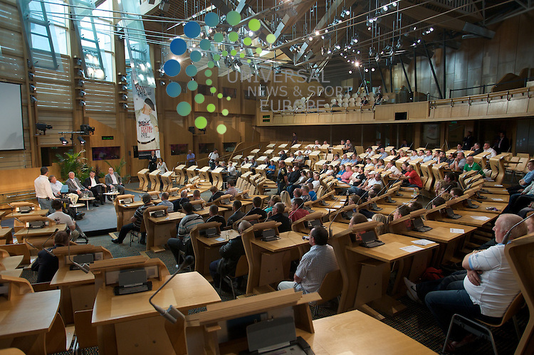 Debate on the future of Scottish football in the main parliamentary chamber of the Scottish Parliament, as part of the Festival of Politics. A panel made up of former Scotland Managers and politicians will answer questions from fans.<br /> Picture: Aron Krausz/Universal News And Sport (Scotland) 17 August 2010.