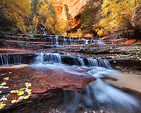 A cascade over sandstone in the wilderness of Zion National Park.<br />