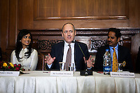(L-R) Pallavi Sharda (OzFest ambassador), Dr. Lachlan Strahan (Australian Deputy High Commissioner to India), and Maharaj Narendra Singh (Maharaj of Jaipur) sit together as Dr. Lachlan Strahan speaks during a press conference on Oz Fest in Raj Mahal Palace hotel, Jaipur, India on 10th January 2013. Photo by Suzanne Lee/DFAT