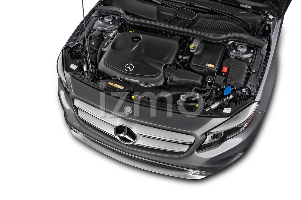 High Angle Engine Detail of 2015 Mercedes Benz GLA-Class 250 5 Door SUV Stock Photo