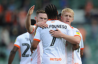 Blackpool's Mark Cullen celebrates scoring the opening goal with team-mate Nathan Delfouneso<br /> <br /> Photographer Kevin Barnes/CameraSport<br /> <br /> The EFL Sky Bet League One - Plymouth Argyle v Blackpool - Saturday 15th September 2018 - Home Park - Plymouth<br /> <br /> World Copyright &copy; 2018 CameraSport. All rights reserved. 43 Linden Ave. Countesthorpe. Leicester. England. LE8 5PG - Tel: +44 (0) 116 277 4147 - admin@camerasport.com - www.camerasport.com