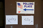 Polling Place: Country (leff arrow); City (right arrow), during a general election