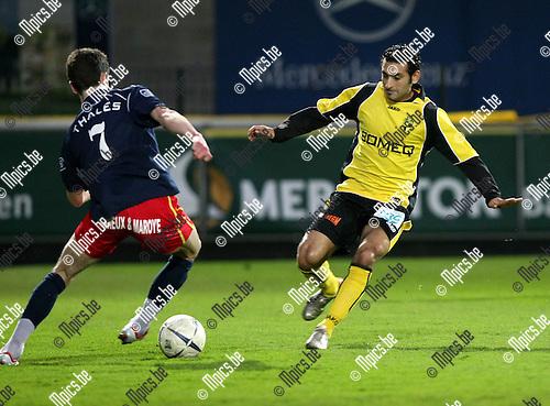 2008-04-02 / Voetbal / SK Lierse - Tubeke / Quentin Gailly met Ahmed Samir (R, Lierse)..Foto: Maarten Straetemans (SMB)