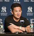 Masahiro Tanaka (Yankees),<br /> SEPTEMBER 21, 2014 - MLB :<br /> Masahiro Tanaka of the New York Yankees speaks during the press conference after the Major League Baseball game against the Toronto Blue Jays at Yankee Stadium in Bronx, New York, United States. (Photo by AFLO)