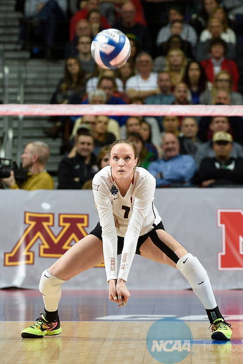 COLUMBUS, OH - DECEMBER 17:  Nicole Dalton (7) of the University of Texas makes a dig against Stanford University during the Division I Women's Volleyball Championship held at Nationwide Arena on December 17, 2016 in Columbus, Ohio.  Stanford defeated Texas 3-1 to win the national title. (Photo by Jamie Schwaberow/NCAA Photos via Getty Images)