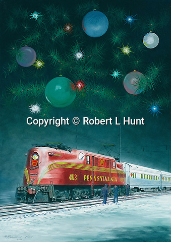 "Pennsylvania Railroad GG1with passenger train in a Christmas holiday setting. Oil on canvas, 12"" x 17""."