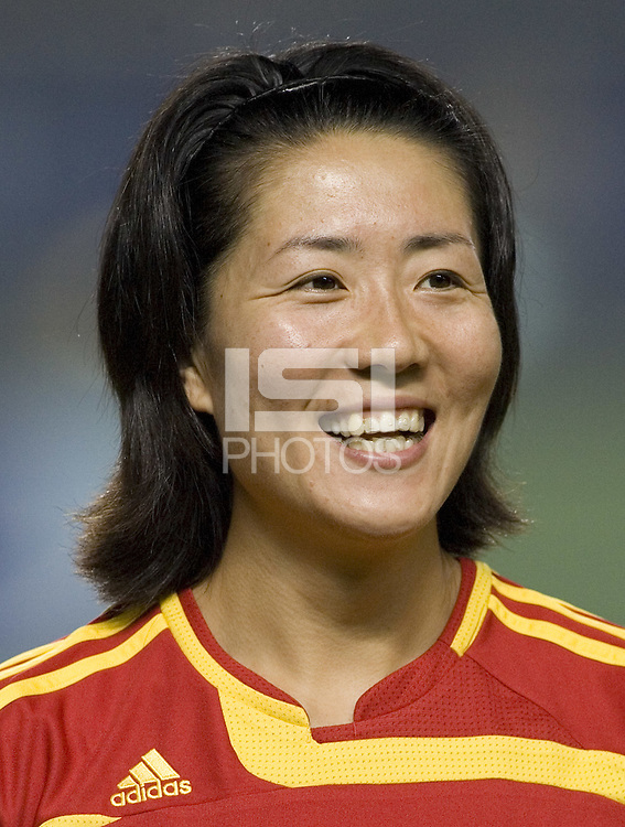 China defender (11) Pu Wei. The Peoples Republic of China (CHN) defeated Denmark (DEN) 3-2 during their FIFA Women's World Cup China 2007 opening round Group D match at Wuhan Sports Center Stadium in Wuhan, China on September 12, 2007.