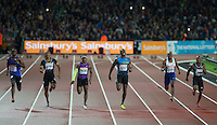 Usain BOLT (3rd right) of Jamaica (Men's 100m) leads the Final during the Sainsburys Anniversary Games Athletics Event at the Olympic Park, London, England on 24 July 2015. Photo by Andy Rowland.
