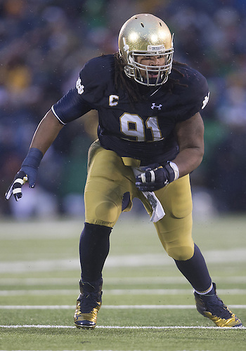 October 04, 2014:  Notre Dame defensive line Sheldon Day (91) during NCAA Football game action between the Notre Dame Fighting Irish and the Stanford Cardinal at Notre Dame Stadium in South Bend, Indiana. Notre Dame defeated Stanford 17-14.