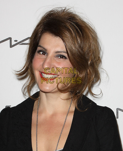 NIA VARDALOS.3rd Annual Women In Film Pre-Oscar Party held At A Private Residence, Bel Air, California, USA..March 4th, 2010.headshot portrait smiling red lipstick make-up earrings dangly black grey gray silver necklace.CAP/ADM/KB.©Kevan Brooks/AdMedia/Capital Pictures.