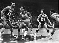Warriors vs. Lakers:..Wilt Chamberlain guarding Warrior Charles Johnson, Gale Goodrich #25.<br />