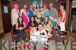 CHAIRTY DRAG NIGHT: The contestant and organizers of A Slightly Alternative Tralee Rose pageant in aid of the Belarussian Orphanage Project at Decon bar on Thursday front Vinny Collins. Seated l-r: Emma Leane, Kate Kelliher, Aisling Clifford, and Amanda Carmody. Back l-r: Joe Watson, Eoin Brassil, Adrian Royle, David O'Sullivan, Gary Vaughan, Michea?l Deasey and Sherk Ington.