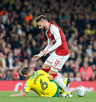 Christoph Zimmermann of Norwich City stops Olivier Giroud of Arsenal during the Carabao Cup match between Arsenal and Norwich City at the Emirates Stadium, London, England on 24 October 2017. Photo by Carlton Myrie.