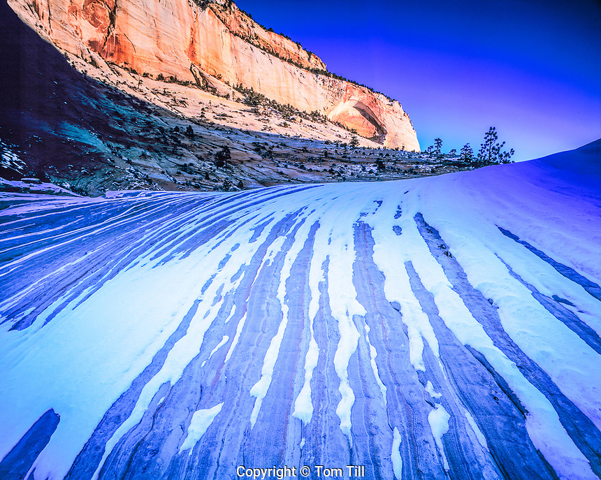 Snow Patterns on Sandstone, Zion National Park, Utah    East Zion area