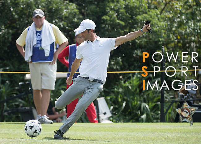 Luis Garcia kicks a football during the World Celebrity Pro-Am 2016 Mission Hills China Golf Tournament on 23 October 2016, in Haikou, Hainan province, China. Photo by Weixiang Lim / Power Sport Images