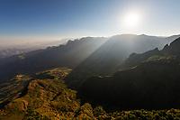 The sun rises over the Simien escarpment
