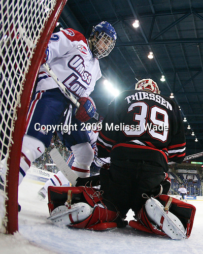 Paul Worthington (UMass-Lowell - 22), Brad Thiessen (Northeastern - 39) - The Northeastern University Huskies defeated the University of Massachusetts-Lowell Riverhawks 3-1 on Saturday, February 28, 2009, at the Paul E. Tsongas Arena in Lowell, Massachusetts.