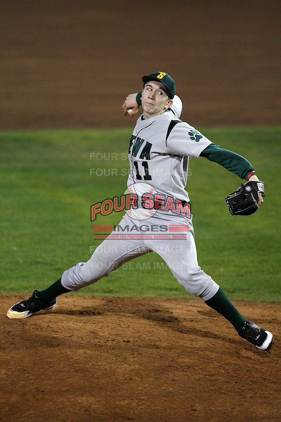 February 20, 2010:  Pitcher Robert Tedesco (11) of the Siena Saints during the season opener at Melching Field at Conrad Park in DeLand, FL.  Siena defeated Stetson by the score of 8-4.  Photo By Mike Janes/Four Seam Images