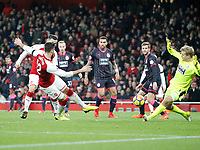 GOAL - Olivier Giroud of Arsenal scores goal number 5 during the Premier League match between Arsenal and Huddersfield Town at the Emirates Stadium, London, England on 29 November 2017. Photo by Carlton Myrie / PRiME Media Images.