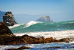 Waves and rock islands on Oregon coast