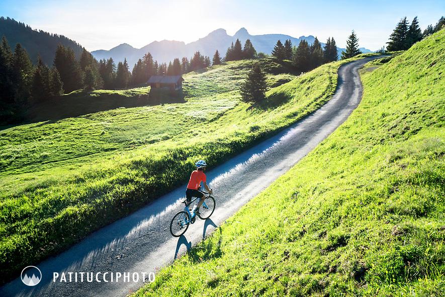 Road biking on the Col de Bretaye, Switzerland