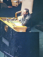 President Fidel Castro of Cuba addresses the United Nations General Assembly in New York, New York on October 15, 1979.  Castro's speech discussed the disparity between the world&rsquo;s rich and the world's poor.<br /> Credit: Arnie Sachs / CNP /MediaPunch