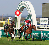 14h April 2018, Aintree Racecourse, Liverpool, England; The 2018 Grand National horse racing festival sponsored by Randox Health, day 3; Tiger Roll ridden by Davy Russell runs past the post to win the Grand National