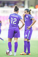 Orlando, FL - Sunday May 14, 2017: Kristen Edmonds, Marta during a regular season National Women's Soccer League (NWSL) match between the Orlando Pride and the North Carolina Courage at Orlando City Stadium.