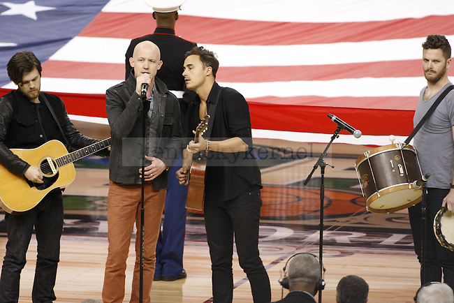 The Fray performs the National Anthem before the Kentucky vs. Kansas National Championship game at the Super Dome in New Orleans, Louisiana  April 2, 2012. Photo by Brandon Goodwin | Staff